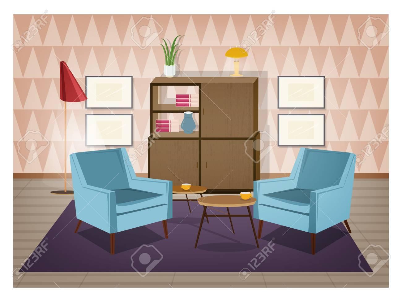Interno del soggiorno arredato in stile retrò. Arredi in stile antico e  decorazioni per la casa - poltrone, moquette, tavolino, credenza, lampada  da ...