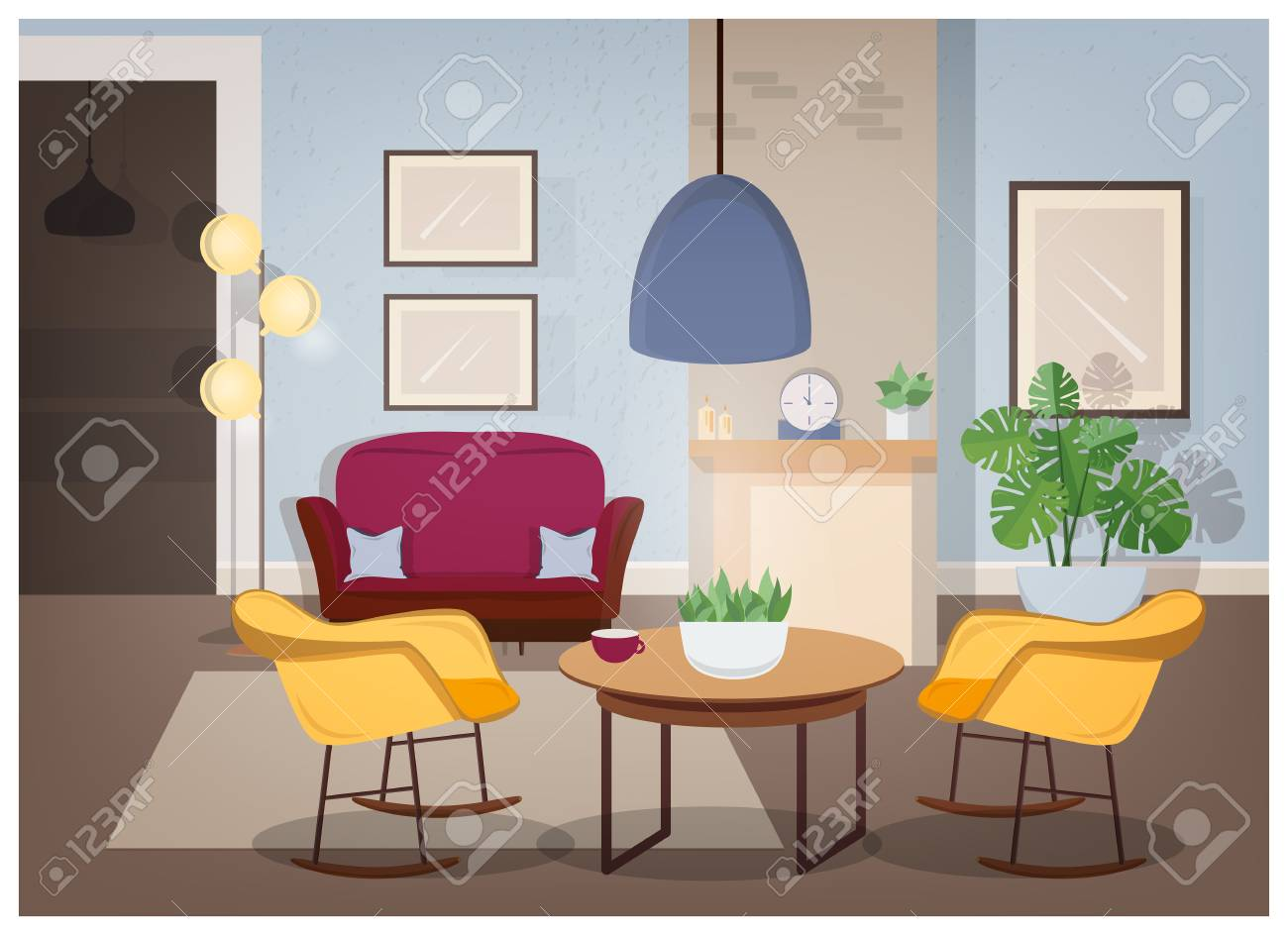Modern Interior Of Living Room With Comfortable Furniture And ...