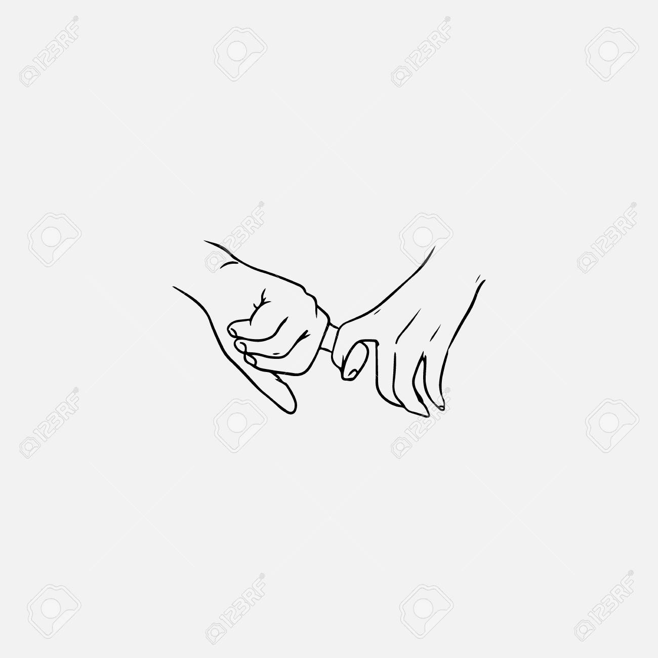 Holding hands hand drawn with contour lines in monochrome colors drawing of one finger