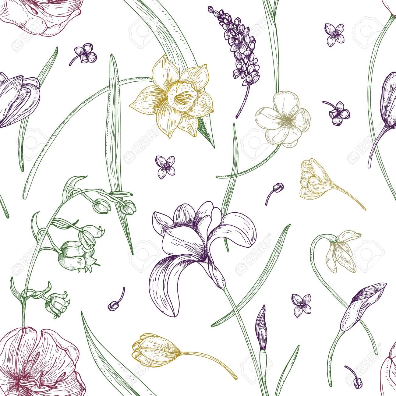 豪華な咲く春とエレガントなシームレス パターンの花白い背景の輪郭線