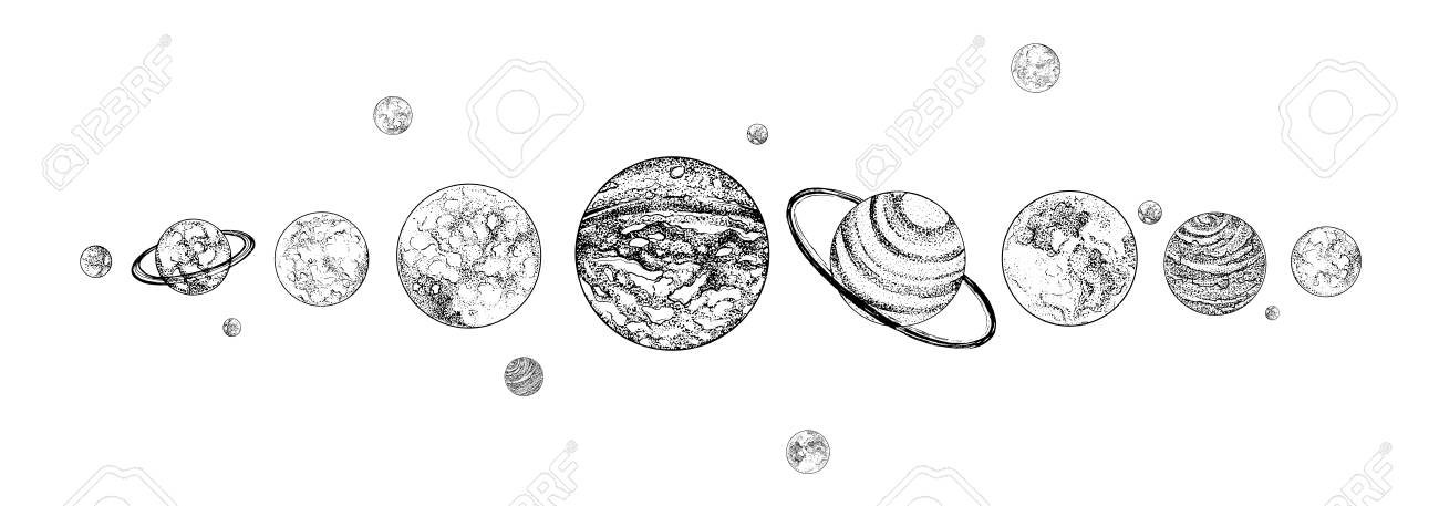 Planets lined up in row solar system drawn in monochrome colors solar system drawn in monochrome colors gravitationally bound celestial ccuart Choice Image