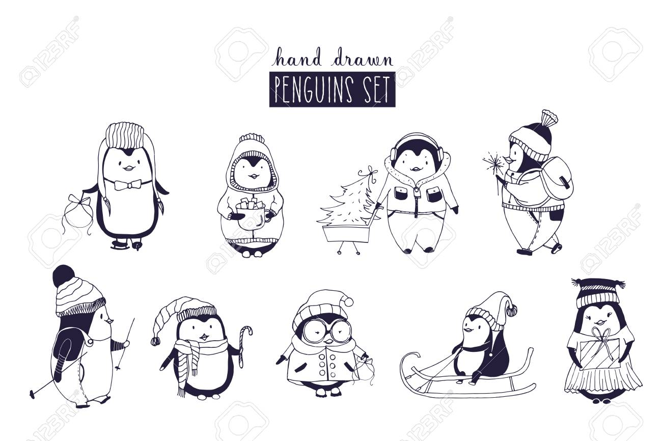 Bundle Of Baby Boy And Girl Penguins Wearing Winter Clothing