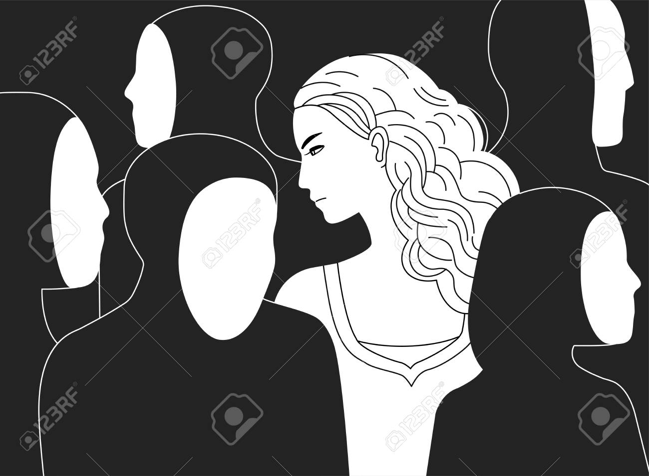 Beautiful sad long-haired woman surrounded by black silhouettes of people without faces. Concept of loneliness in crowd, alienation, estrangement, indifference. Monochrome vector illustration. - 89855537
