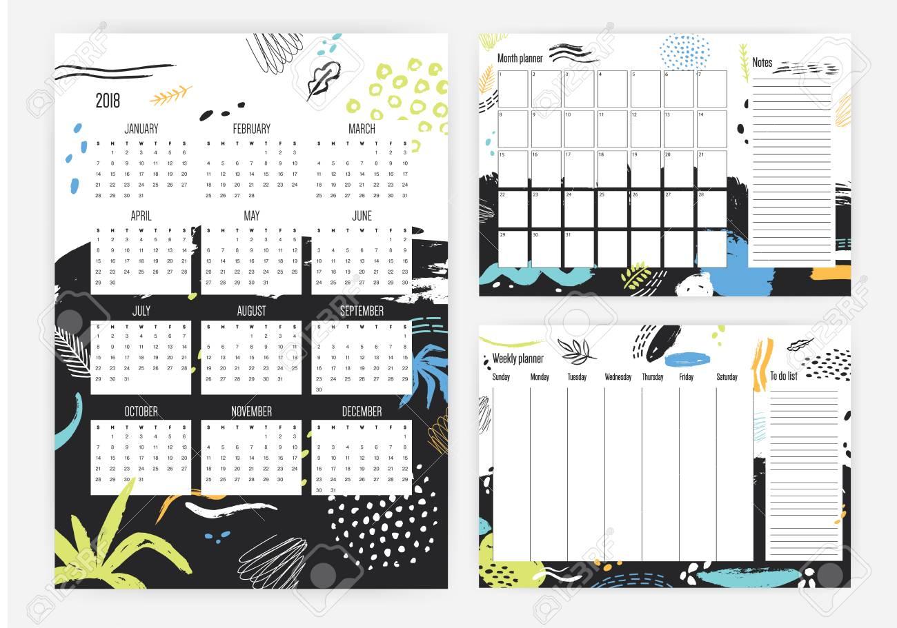 Conjunto De Calendario Año 2018, Mes Y Planificador Semanal ...