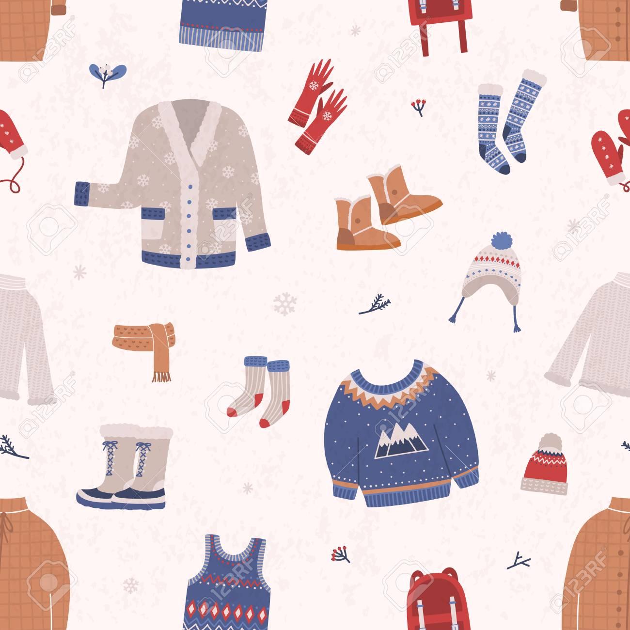 Un Patrón Sin Costuras Con Ropa De Invierno Y Ropa De Abrigo Sobre ...