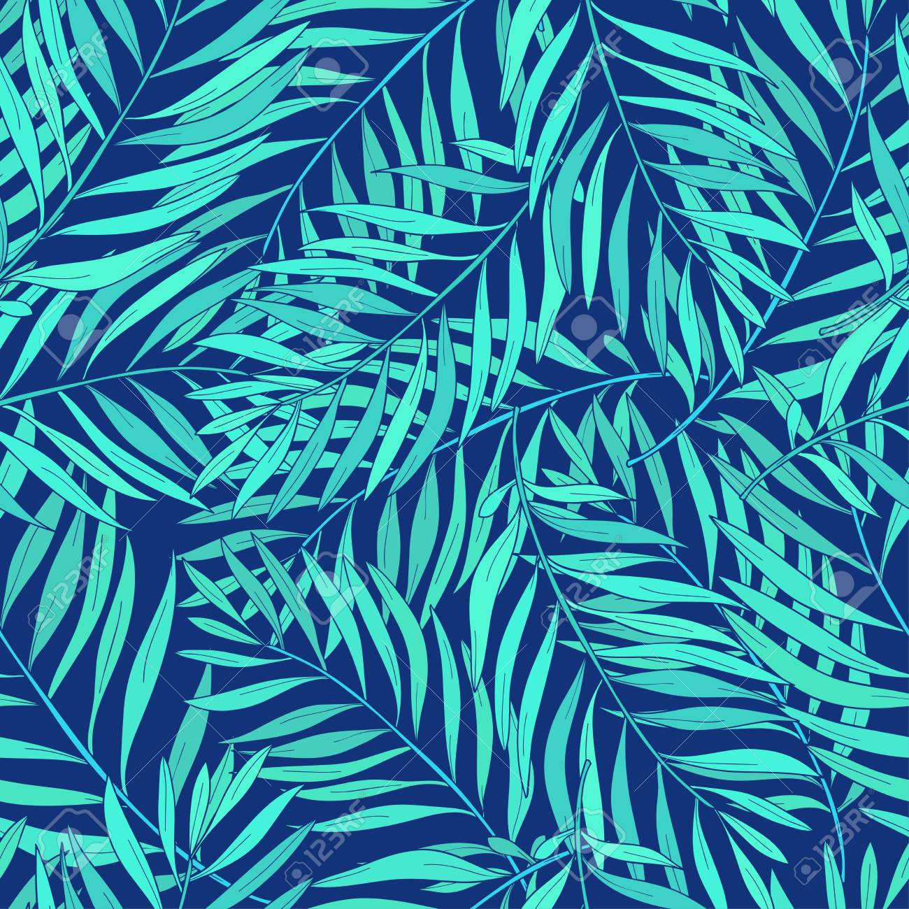 Natural Seamless Pattern With Green Tropical Palm Leaves On Blue Royalty Free Cliparts Vectors And Stock Illustration Image 90596290 Chinoiserie wallpaper bedroom wall covering modern vintage pink floral wallpaper blue tropical butterfly birds flower wall paper. natural seamless pattern with green tropical palm leaves on blue