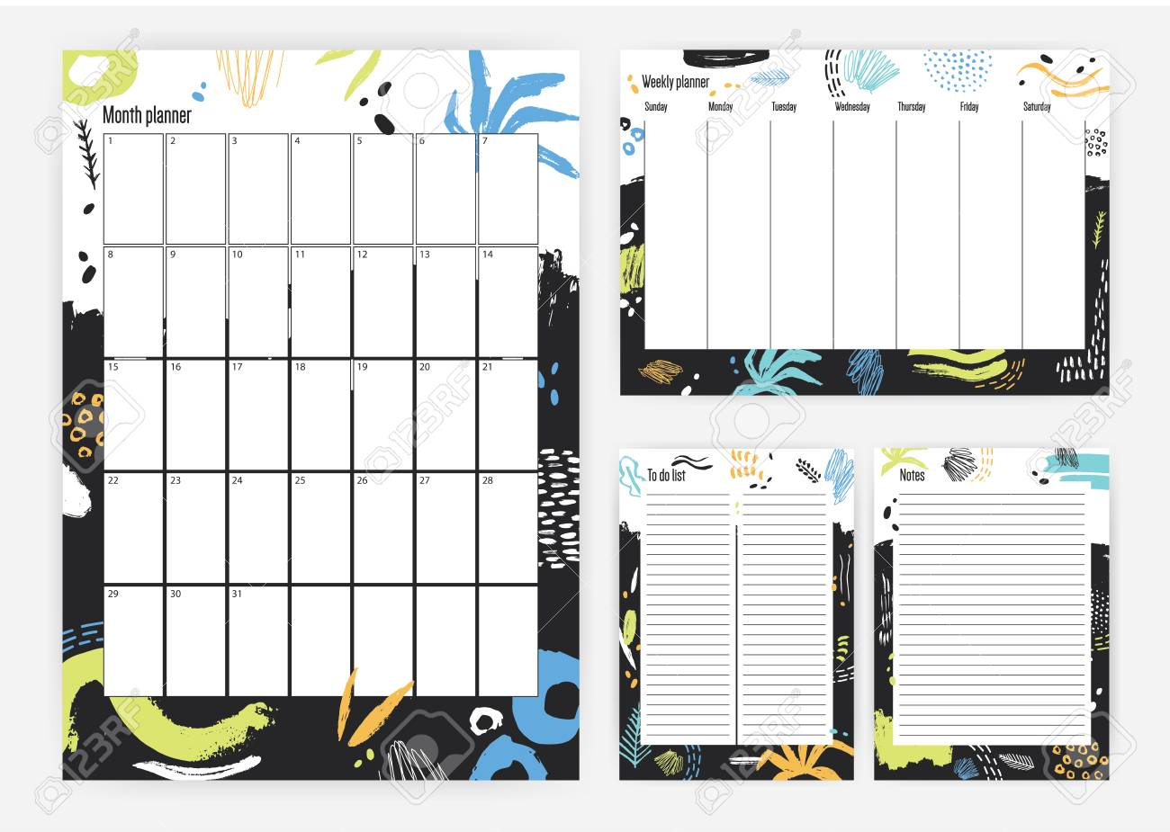 set of month and weekly planner templates with colorful paint
