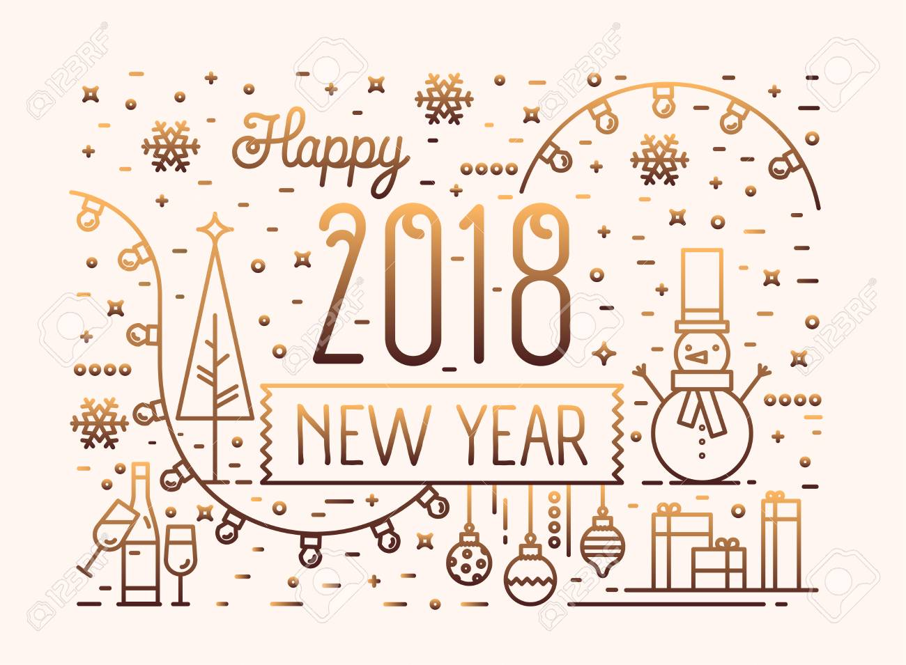 Happy New Year Horizontal Banner, Greeting Card Or Postcard Template ...