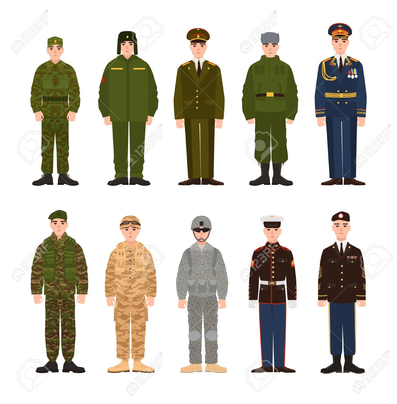 Collection of Russian and American military people or personnel dressed in various uniform. Bundle of soldiers of Russia and USA. Set of flat cartoon characters. Modern colorful vector illustration. - 90672401