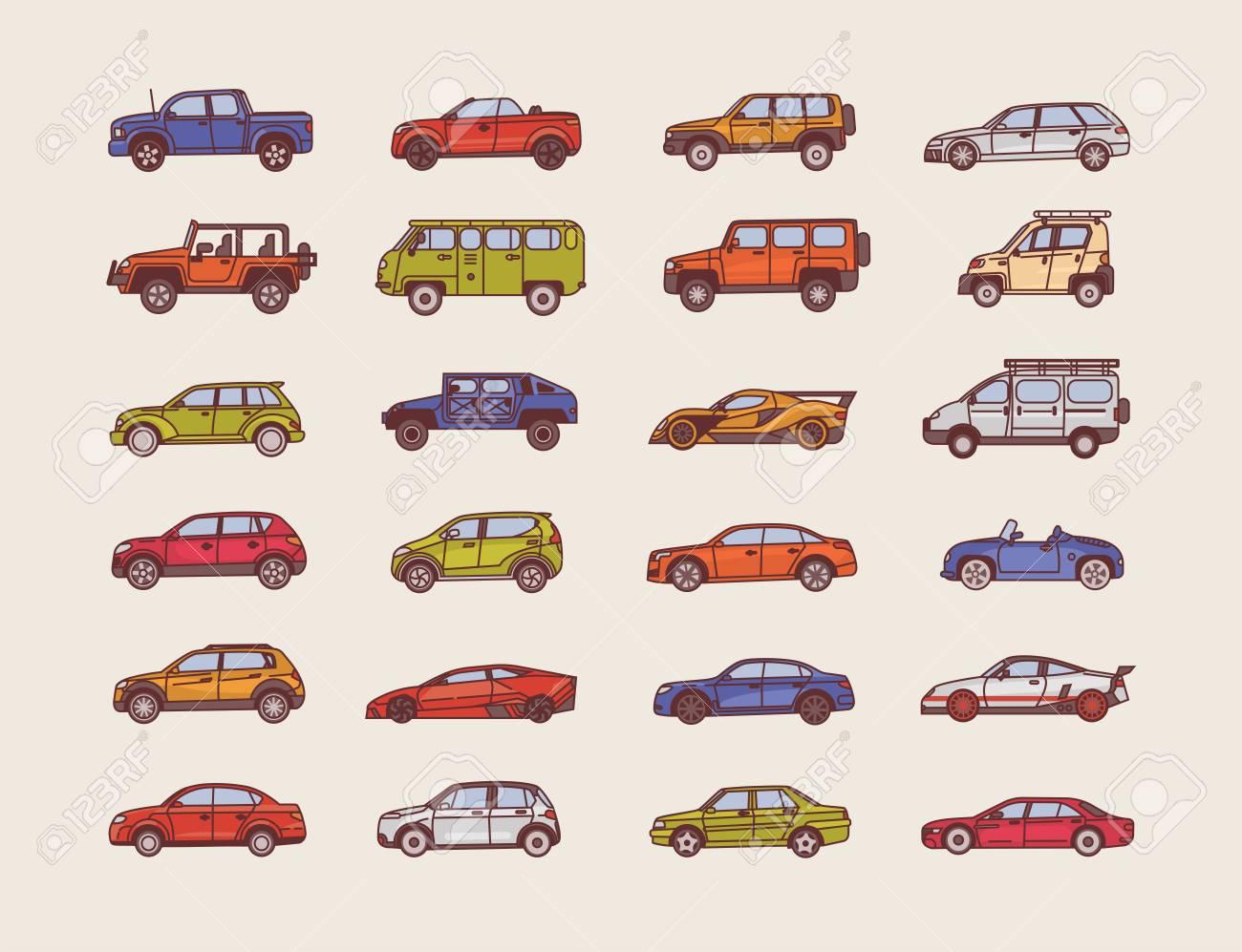 Große Sammlung Von Autos Verschiedener Karosseriebauarten ...