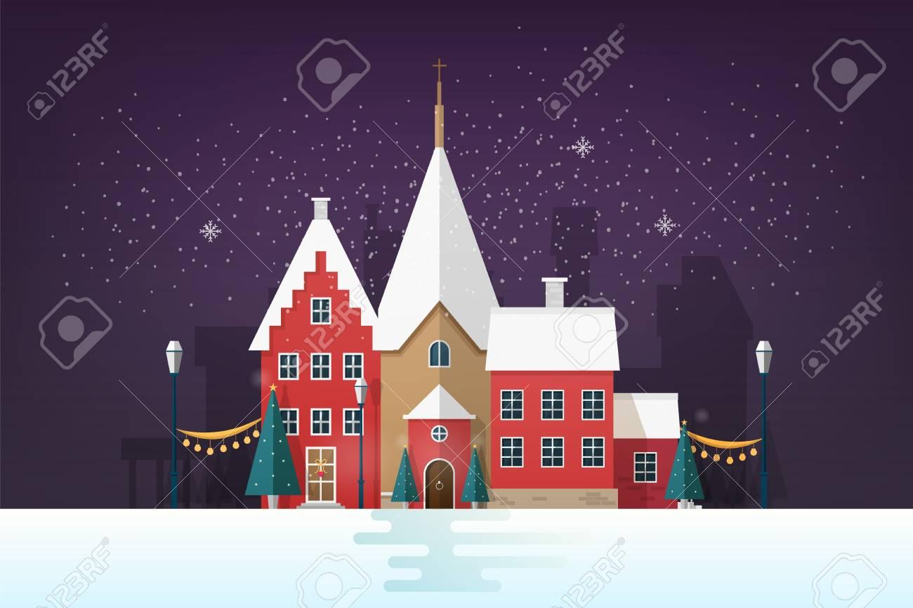 冬の街並みまたは旧式な建物と休日の通り装飾雪の夜の都市の風景旧市街