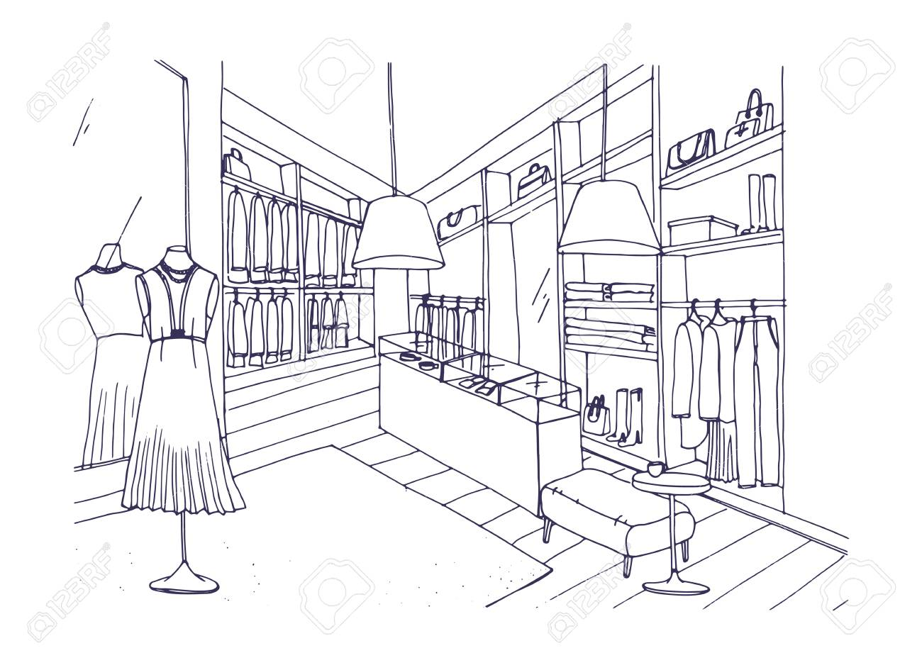 Desenho De Esboço Do Interior Da Loja De Roupas Da Moda Com Mobiliário Vitrines Manequins Vestidos Com Roupas Elegantes Loja De Boutique Ou Moda
