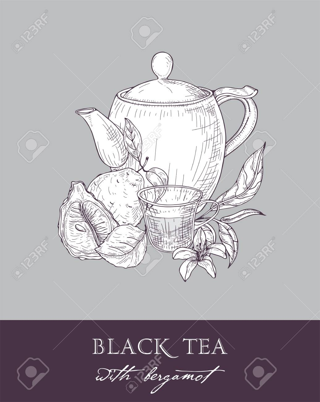 Monochrome Drawing Of Teapot Cup Tea Leaves Flowers And Fresh Royalty Free Cliparts Vectors And Stock Illustration Image 92101473