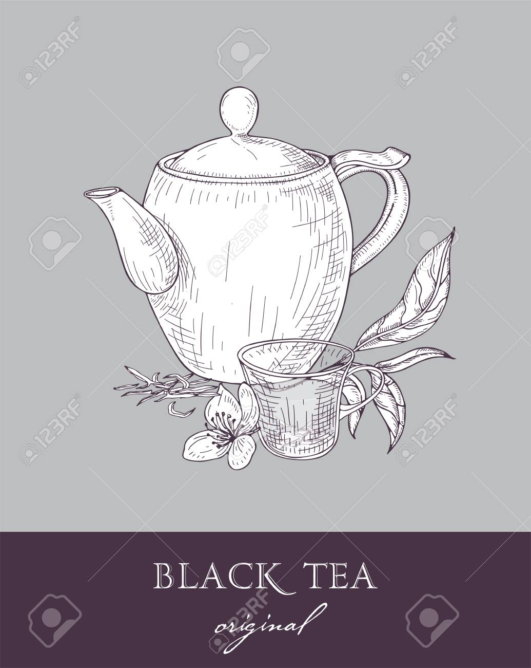 Teapot Glass Cup And Original Black Tea Leaves And Flowers Hand Royalty Free Cliparts Vectors And Stock Illustration Image 92045519
