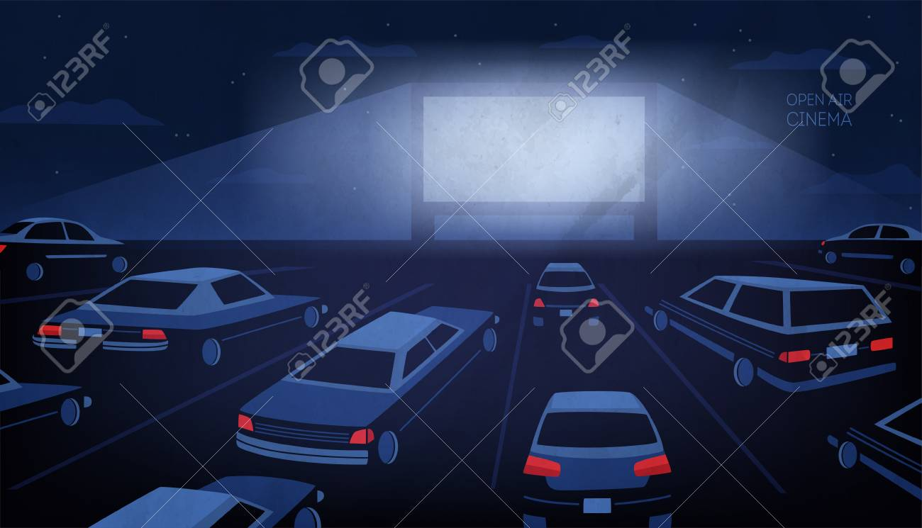 Open air, outdoor or drive-in cinema theater at night. Large movie screen glowing in darkness surrounded by cars against evening sky with stars and clouds on background. - 92115565