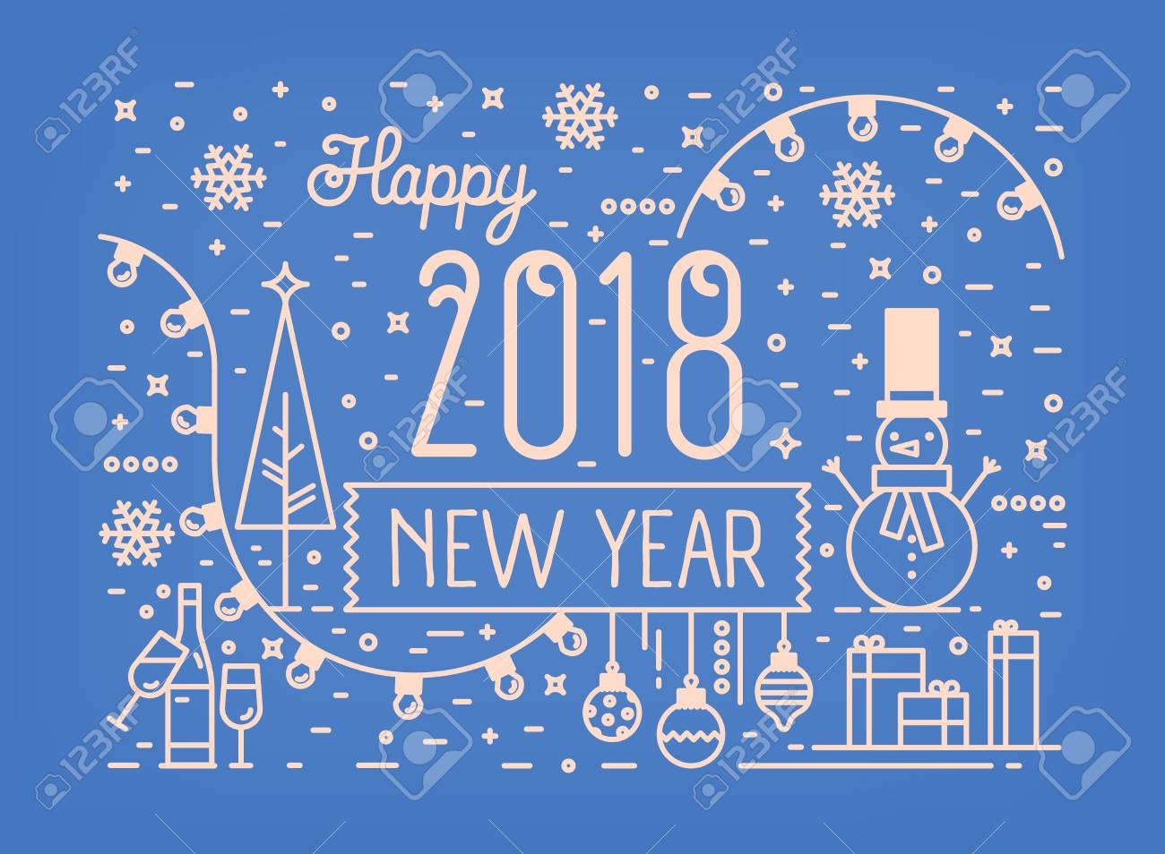 happy new year horizontal banner greeting card or postcard template with traditional holiday decorations