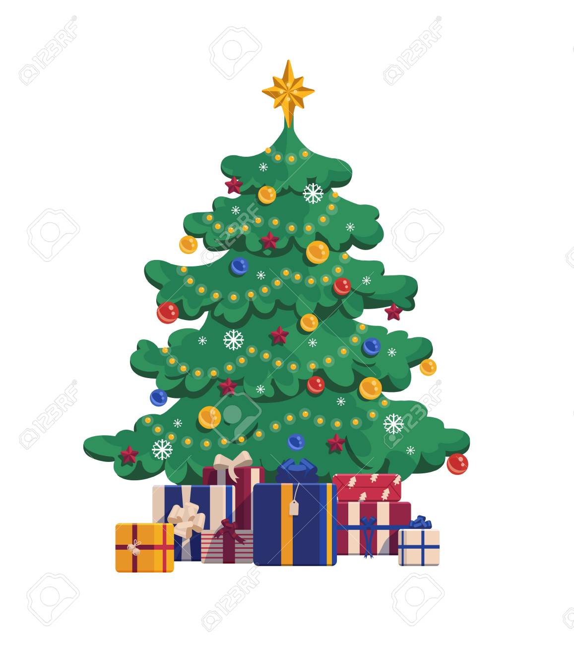 Cartoon Christmas Tree With Gift Boxes Xmas Vector Illustration Royalty Free Cliparts Vectors And Stock Illustration Image 92101509 In your case, feel free to. cartoon christmas tree with gift boxes xmas vector illustration