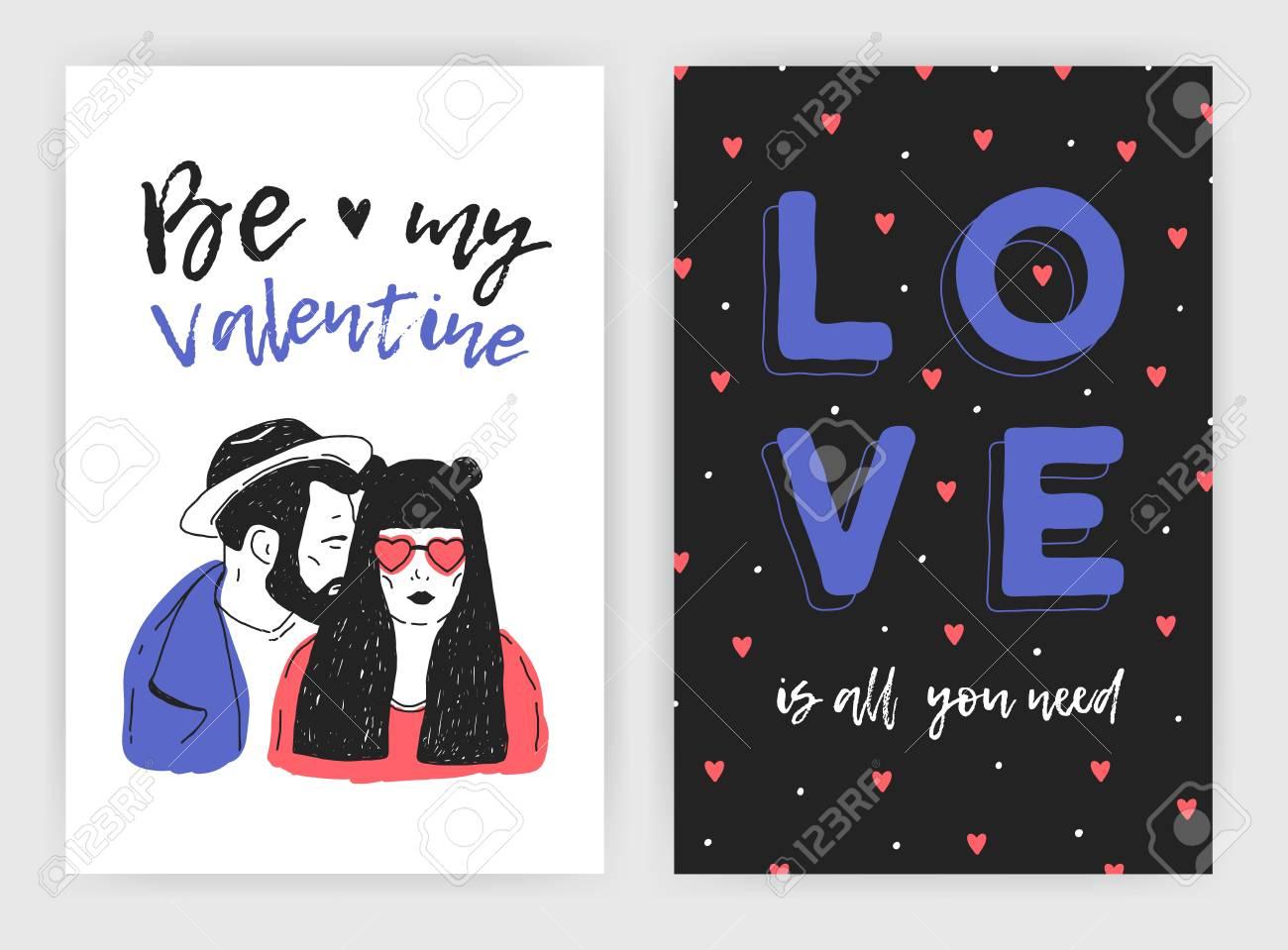 Paquete De Plantillas De Tarjetas De Felicitación Del Día De San Valentín S Invitación De Fiesta O Flyer Con Mano Dibujado Par De Hombre Joven Y Una