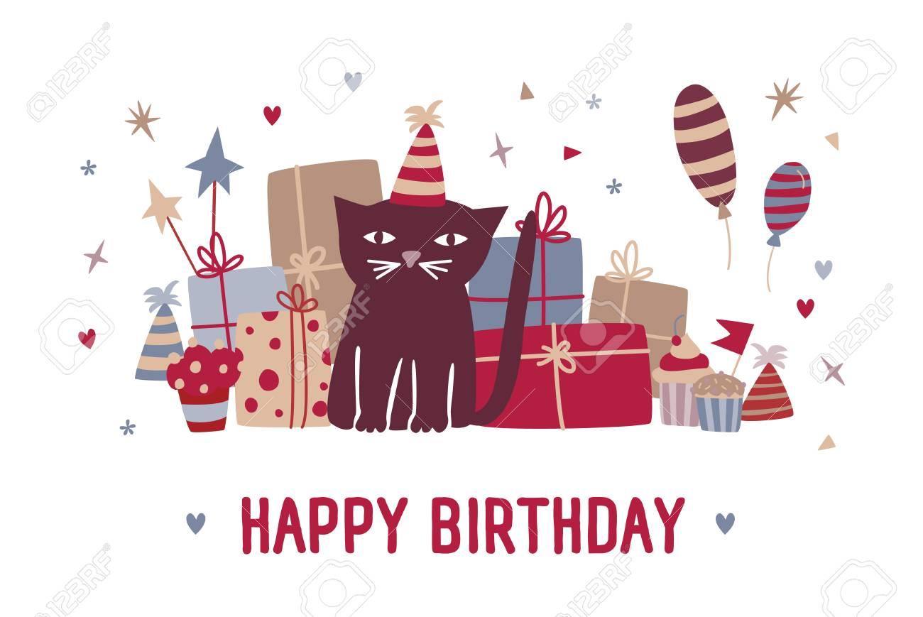 Desejo Do Feliz Aniversario E Gato Preto Dos Desenhos Animados Engraçados No Chapéu Do Partido Que Senta Se Contra Presentes Queques Balões