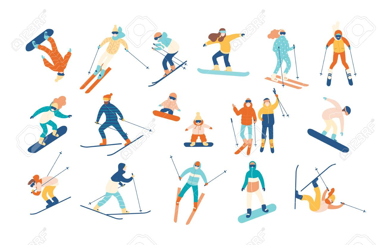 9a42fe0edb Vector illustration in flat style. Adult people and children dressed in winter  clothing snowboarding and skiing. Male and female cartoon