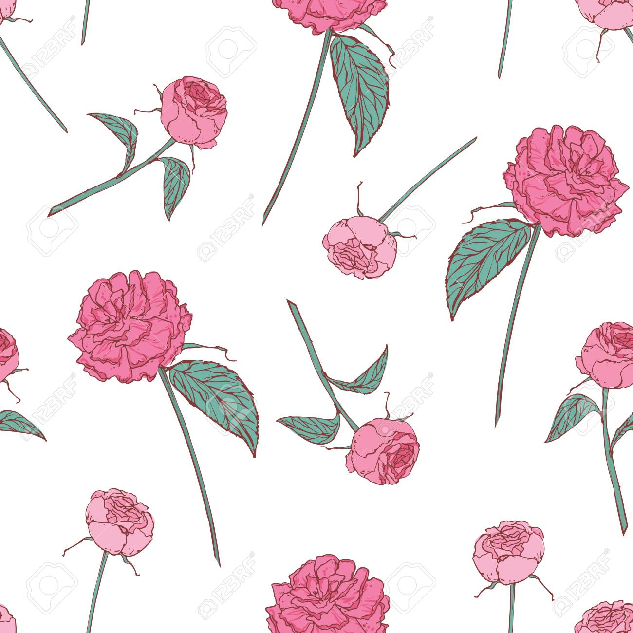 Elegant Floral Seamless Pattern With Beautiful Roses On White