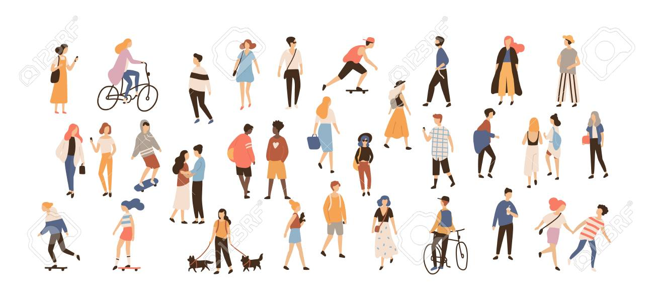 Crowd of people performing summer outdoor activities. Group of male and female flat cartoon characters isolated on white background. Vector illustration. - 96593135