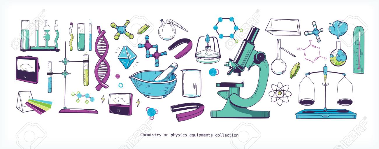 Set Of Chemistry And Physics Laboratory Equipment Tools Stock Vector