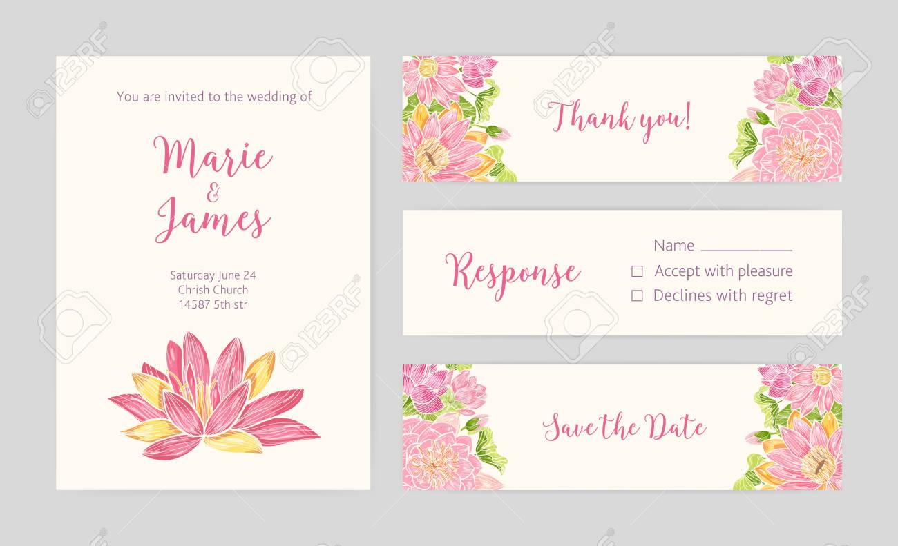 set of wedding party invitation save the date card response and thank you note