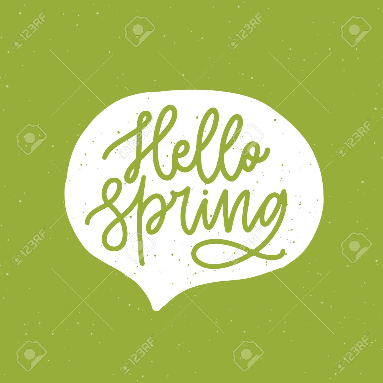 Hello Spring Phrase Handwritten With Elegant Cursive Font Or Script Inside Speech Balloon Bubble On