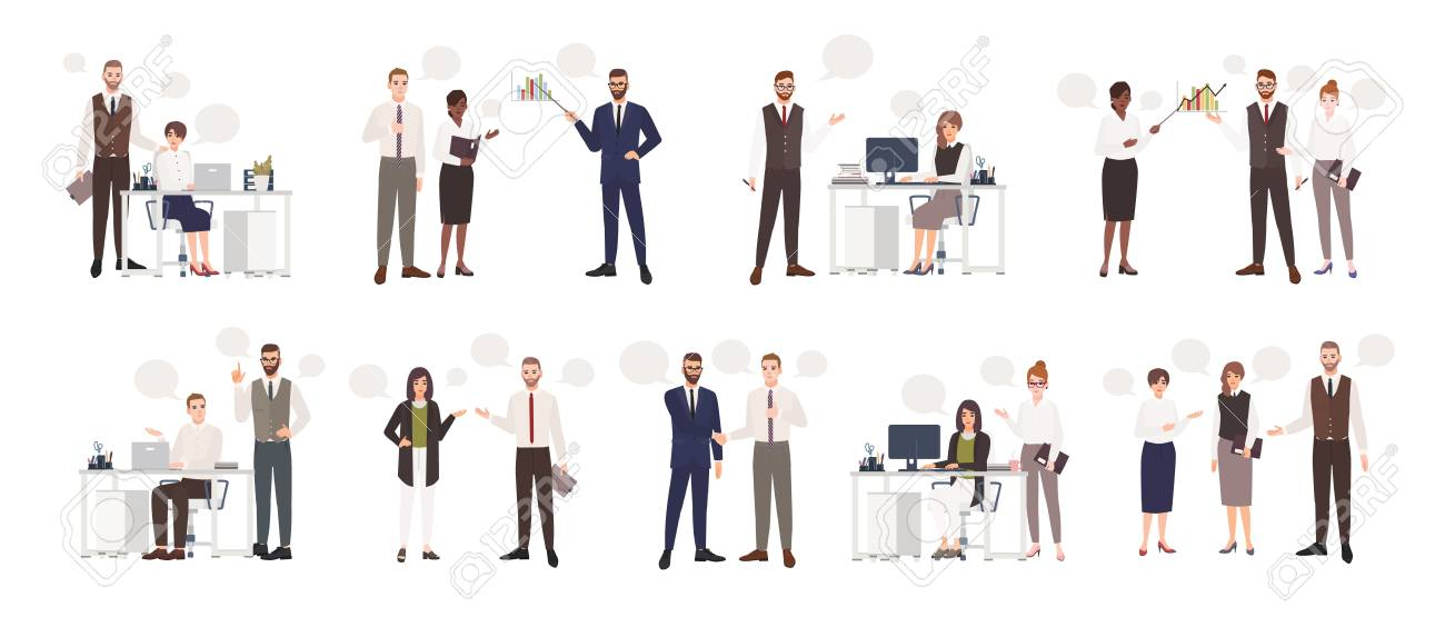 Set of male and female office workers talking to each other. Business people or clerks communicating with colleagues, negotiating, making presentations. Flat cartoon colorful vector illustration - 97574950
