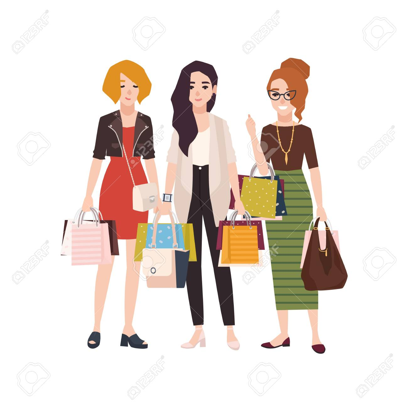da0ffb5350 Colorful vector illustration. Group of young happy woman holding shopping  bags. Girls or female friends with their purchases