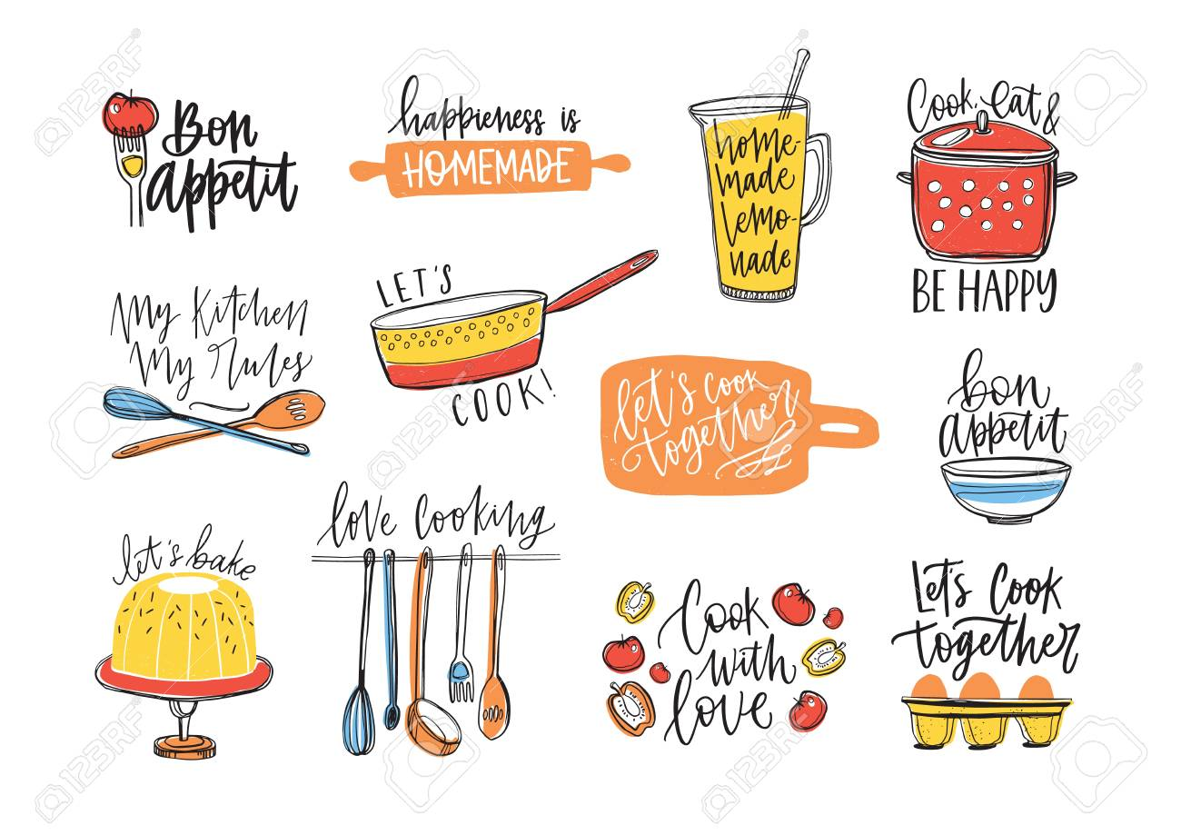 Bundle of inscriptions handwritten with cursive calligraphic font and decorated with kitchen utensils and food. Set of elegant lettering and tools for cooking or food preparation vector illustration. - 98287521
