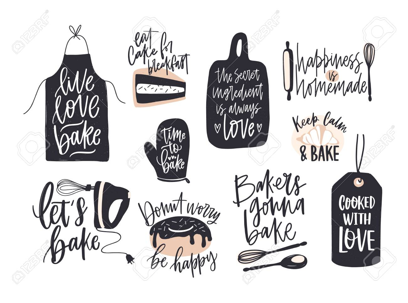 Collection Of Elegant Lettering Written With Cursive Font Decorated Cooking Or Baking Design Elements