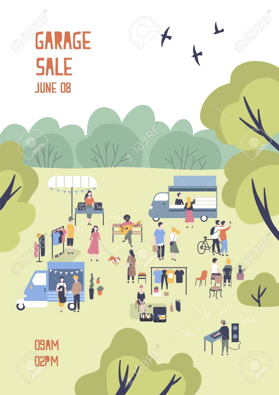 modern flyer or poster template for garage sale or outdoor festival