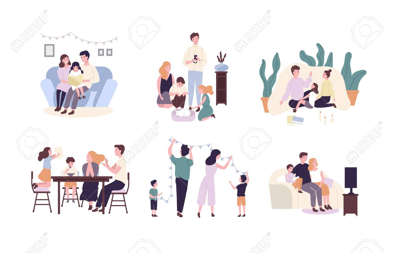 Family members spending time together at home. Mother, father and children reading book, decorating house, watching TV. Cute cartoon characters isolated on white background. Flat vector illustration. - 99122244