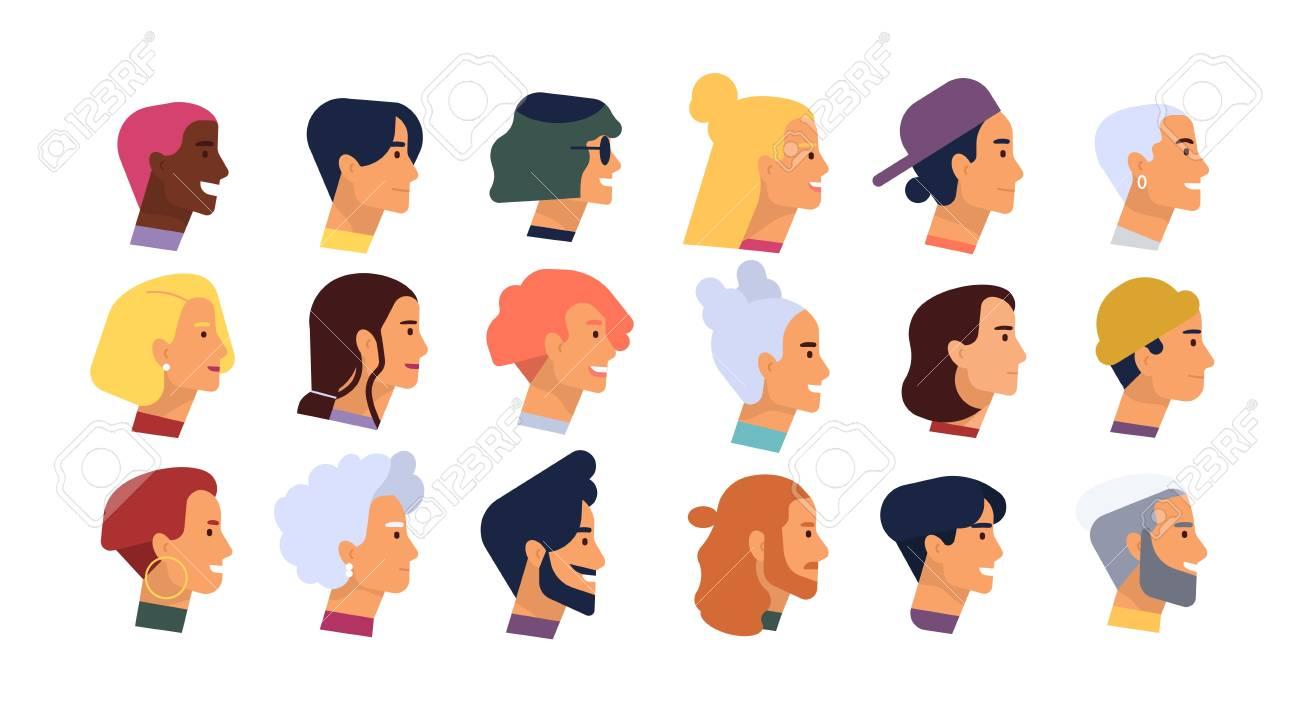 Sammlung Von Profil Portrats Oder Kopfe Von Mannlichen Und