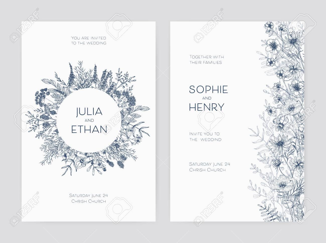 bundle of elegant wedding party invitation templates decorated