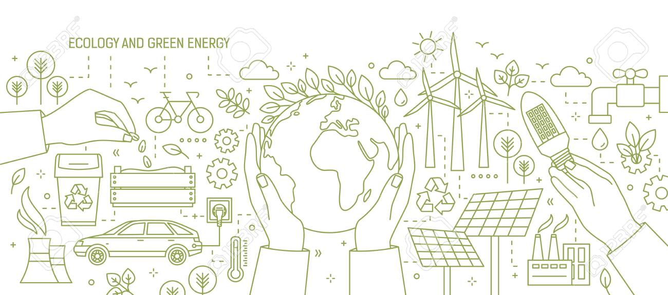 Monochrome banner with hands holding Earth and light bulb surrounded by wind and solar power stations, electric car, plants. Ecology and renewable energy vector illustration in line art style. - 100463998