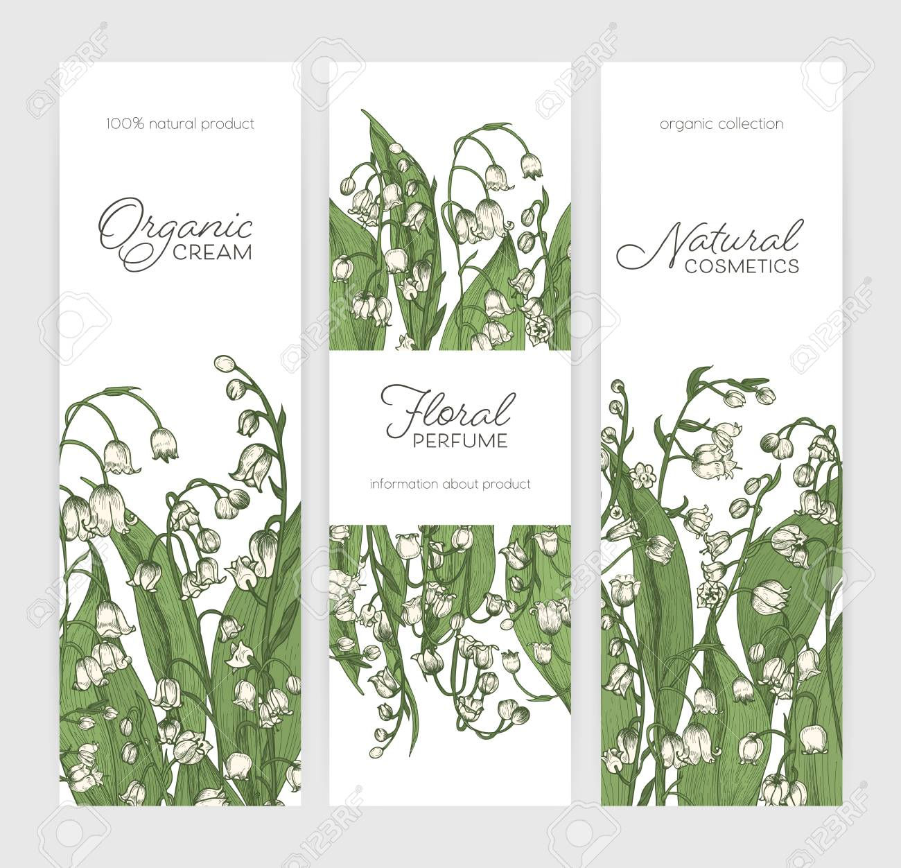 Set of vertical banner or label templates with lily of the valley set of vertical banner or label templates with lily of the valley flowers hand drawn on izmirmasajfo