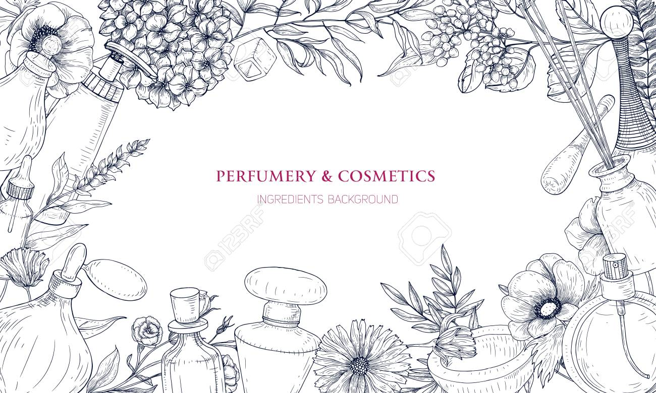 Horizontal backdrop with frame made of perfume and fragrance