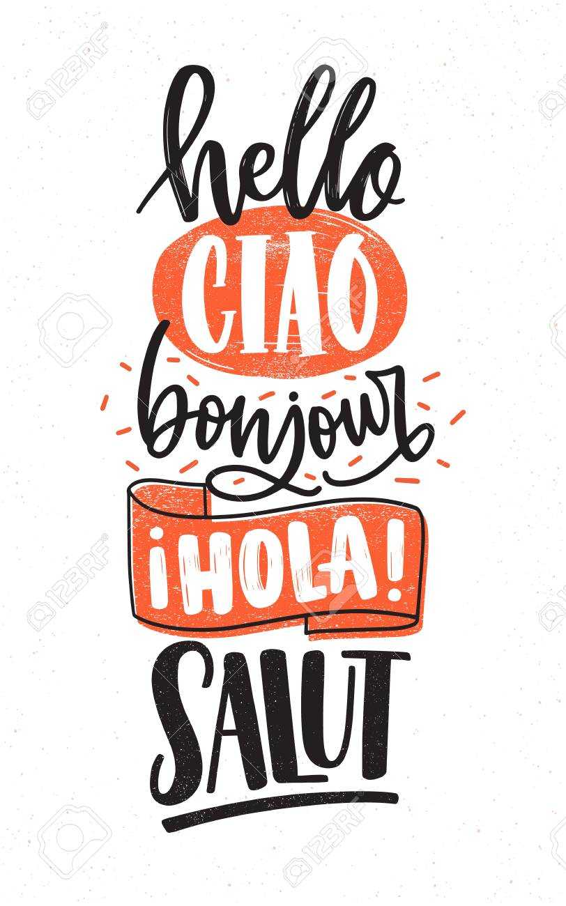 Word hello in different languages english french spanish vector word hello in different languages english french spanish italian greetings handwritten with various calligraphic cursive fonts m4hsunfo