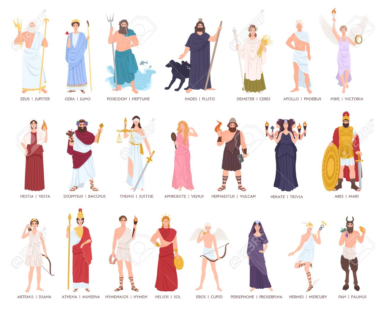 Collection gods and goddesses from Greek and Roman mythology,