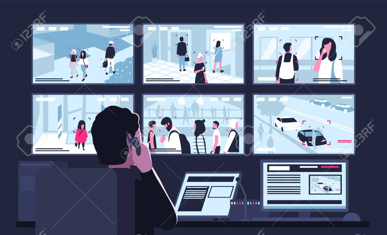 Security service worker sitting in dark control room in front of monitors displaying video from surveillance cameras, watching and talking on phone. Back view. Flat cartoon vector illustration. - 101249171