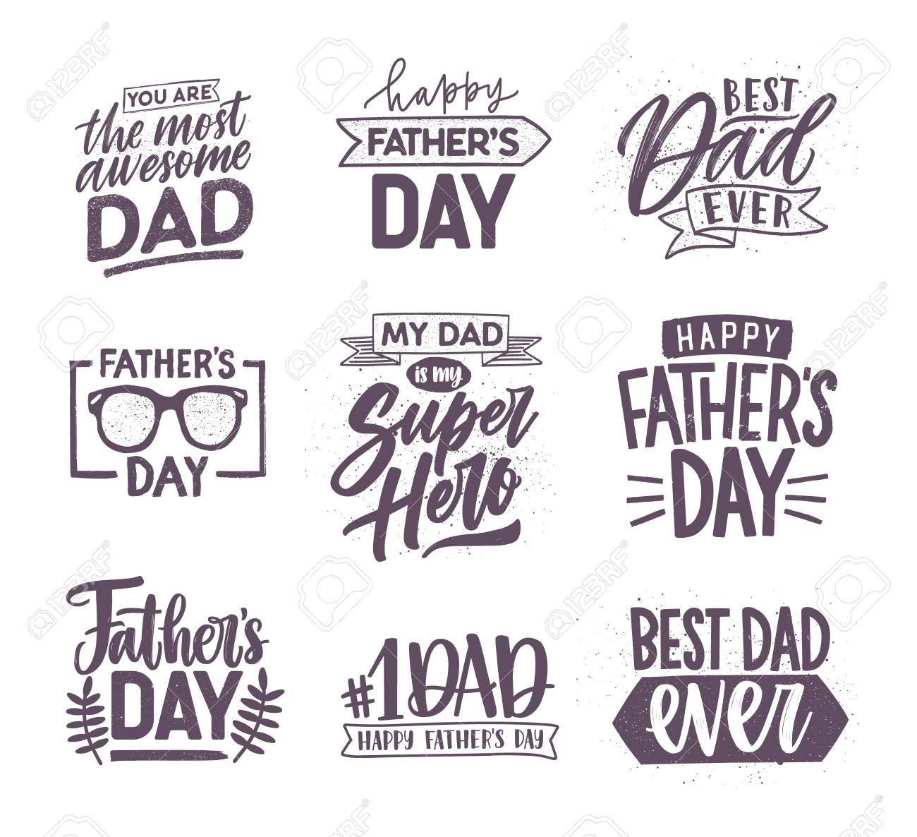 Collection of Fathers Day letterings handwritten with elegant fonts and decorated with festive elements. Bundle of holiday inscriptions isolated on white background. Monochrome vector illustration. - 102251630