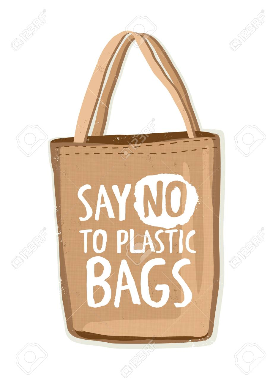 Textile environmentally friendly reusable shopping bag or eco shopper with lettering Say No To Plastic Bags handwritten with modern funky font on it. Colorful hand drawn vector illustration. - 102928307