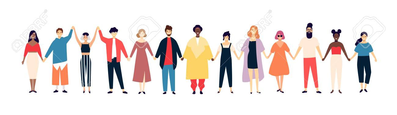 Smiling Men And Women Holding Hands. Happy People Standing In.. Royalty  Free Cliparts, Vectors, And Stock Illustration. Image 102928668.