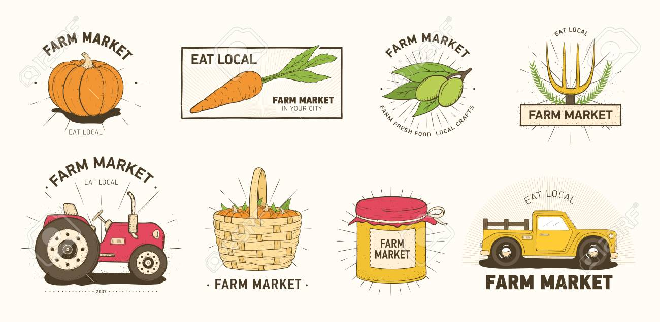 Collection of farm or agricultural market logo or labels with