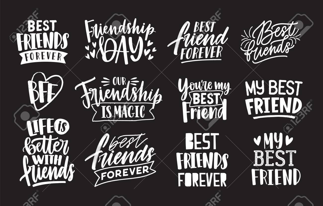 Conjunto De Amigos Y Frases Escritas A Mano De Amistad Con La Ilustración Caligráfica De La Higiene De Letras Escritas A Mano Aislado En El Fondo