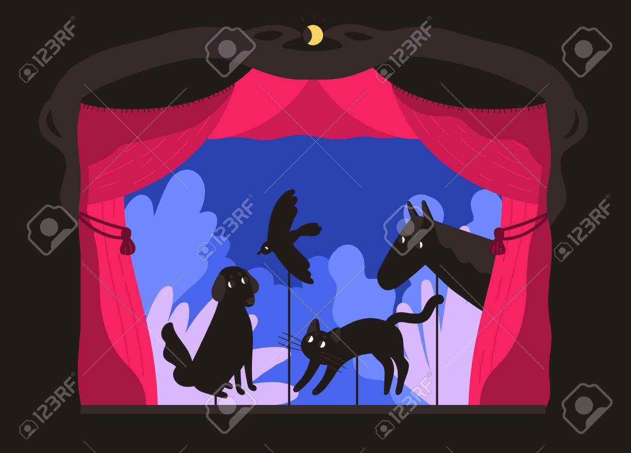 Rod shadow puppets manipulated by puppeteer at theater stage