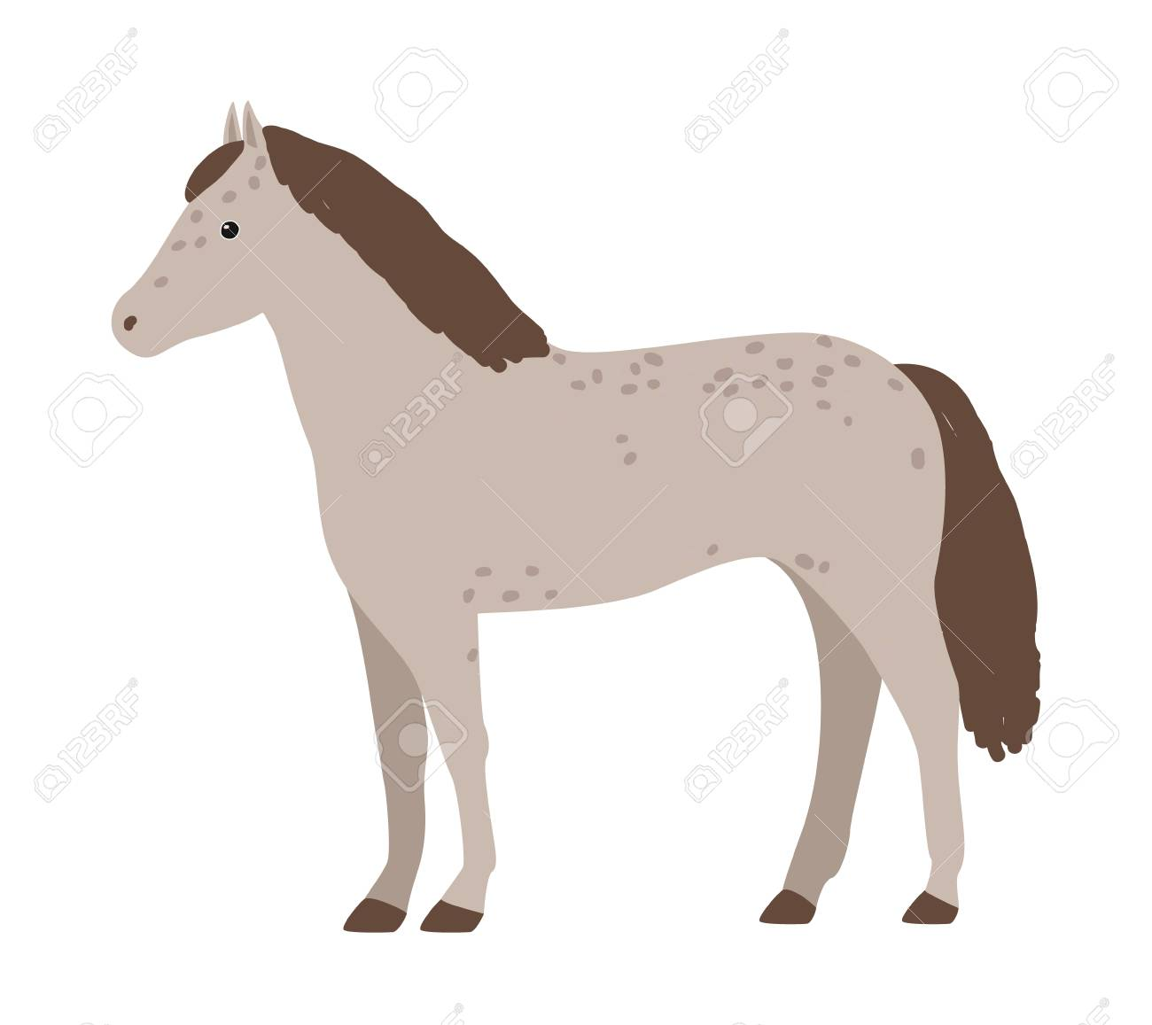 Cute Grey Horse Isolated On White Background Adorable Pony With Royalty Free Cliparts Vectors And Stock Illustration Image 104027511
